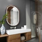 24x36 Inch Led Lighted Bathroom Mirror With Rose Gold Frame Touch Sensor Switch