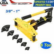 6 Ton Manual Hydraulic Pipe Bender Bending Tubing Exhaust Tools With 6 Dies New