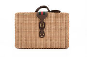 New Iconic Natural Wicker And Leather Suitcase Bag4350