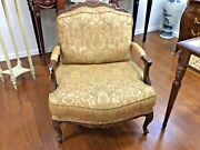 Vintage French Style Hand Carved Bergere Chair