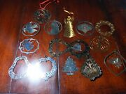 Mixed Lot Of 15 Vtg Filigree Metal Christmas Ornaments From 70s Some 24k Gold P