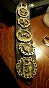 Vintage 5 Solid Brass Bottle Openers Peerage Eng. With Leather Hanging Strap