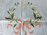 Vintage Pale Blue And Peach Silk Boudoir Pillow Cover W Hand Painted Flower Wreath