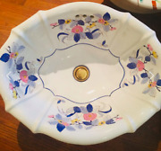 Free Shipping Sherle Wagner Italy Mums Blue Scalloped Blue Floral Sink Basin