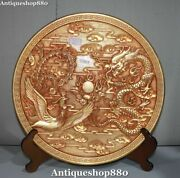 Ming Dynasty Purple Bronze 24k Gold Dragon Phoenix Play Bead Dish Plate Screen
