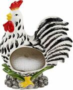 Farmhouse Decor Kitchen Sink Scrubby Holder - Black And White Rooster