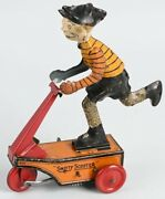 Vintage 1920andrsquos Marx Smitty Scooter Tin Wind Up Toy