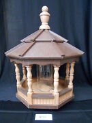 Poly Bird Feeder Amish Gazebo Handcrafted Homemade Cedar And Brown Roof