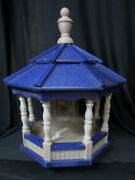 Poly Bird Feeder Amish Gazebo Handcrafted Homemade Clay And Blue Roof Md