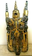 Antique Large Garuda Ornamented Balinese Indonesian Woodwork- W/ Glass+gold Leaf
