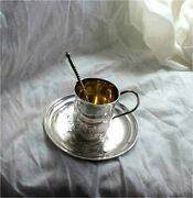 Russian 84 Sterling Silver Art Nouveau Tea Coffee Cup Gilded Odessa Antique
