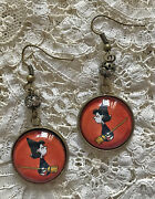 Crabby Lucy Van Pelt Picture Glass Dome Dangle Earrings Halloween Witch Peanuts