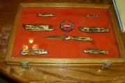 1976 Case Xx, Set Of 7 Stag Handled Pocket Knives W/display Case, And Button Shp.