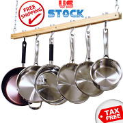 Hanging Pot Rack Ceiling Mounted Chain Cookware Pan Kitchen Storage Space Wood
