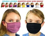 Kids Face Mask With Nose Wire Bridge Child Face Mask Reusable Washable Cotton