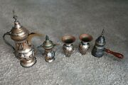 Antique Authentic Egyptian Brass Decorative Vases, Pitcher, And Decanter