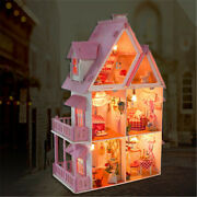 Large Wooden Doll House Kit Dollhouse Mansion Furniture Diy Play Kids Xmas Gift