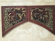 4 Antique Chinese Carved Red Gilt Painted Wood Panels