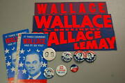 Political Pin/button Bumper Sticker Lot Of 13 George Wallace President