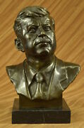 Abstract Mid Century Jfk Kennedy Bust Sculpture Signed Mavchi Pure Bronze Deal