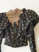 Vintage 1900and039s Authentic Edwardian Blouse High Neck Ruffle Shoulder