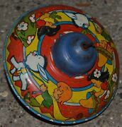 Vintage Ohio Art Co Spinning Tin Toy Top Made In Usa Western Children