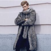 Menand039s Warm Fur Gray Popular Coat Long Jacket Faux Fur Collar Outwear Us Sz S-6xl