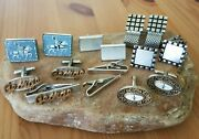 Estate Vintage Lot Of 10 Cufflinks And Tie Clips Swank And Unsigned