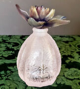 Daum Crystal Physalis Perfume-lotion Bottle France Signed Perfect Pink And Violets