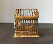 Antique German Erhard And Sohne Ormolu Doll House Mini Large 2 Wax Birds In Cage