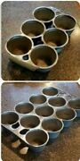 Griswold Chrome No.10 And 18 948 6141 Cast Iron Popover Muffin 11 Cup And 6 Cup Lot