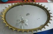 Large Vintage Brass Mirrored Oval Vanity Tray