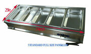 Intbuying 5 Pans Full Size Bain-marie Buffet Food Warmer Double-layer Steel New