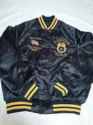 Vintage Satin Button Snap Jacket Glenn Ford Teamsters 515 Mens Size L Embroidery