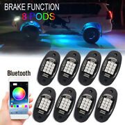 8x Neon Led Rock Light Kit Bluetooth App Underglow For Offroad Car Us Shipping