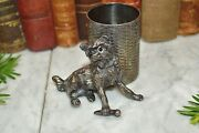 Antique James Tufts Silver Plate Dog With Glass Eyes Match Toothpick Holder 2684