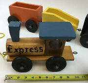 Vintage Wooden Train Set Exceptional Line Braintree, Ma Large Cars 8-10 Heavy
