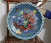China Copper Bronze Cloisonne Enamel Lucky Seawater Red Dragon Plate