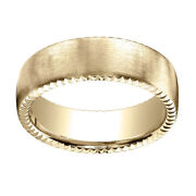 14k Yellow Gold 7.5mm Comfort Fit Rivet Coin Edging Carved Band Ring Sz 7