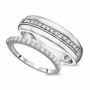 1/2 Ct Round Cut Diamond His And Hers Wedding Band Set 10k Solid White Gold