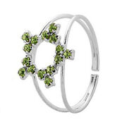 White Gold Over 925 Sterling Silver Peridot Star Toe Rings