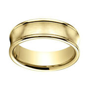 18k Yellow Gold 7.5mm Comfort Fit Satin Finish Concave Round Edge Band Ring 12
