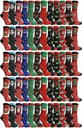 Yacht And Smith Christmas Printed Fun Lot Of Crew Knee High Fuzzy Slipper Socks