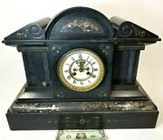 Antique French Mantle Clock Granite Slate Marble 60 Lbs. Large C.d.peacock Tg