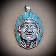 Pawn Native American Sterling Silver Chief Pendant W/ Turquoise And Coral Gems
