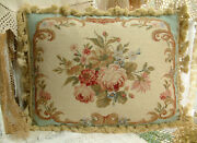 20 French Country Elegant Scroll Rose Bouquet Aubusson Design Needlepint Pillow
