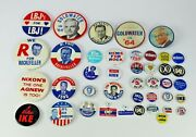 Collection Of 1960's 70's Political Buttons Rockefeller Nixon Goldwater Johnson