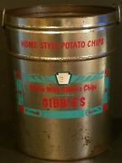 Vintage Large 3-1/2 Pound 15 Tall Nibble With Gibbles Potato Chip Tin