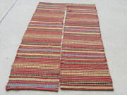 Pair Early Antique Scandinavian Icelandic Flat Woven Colorful Tapestry Textiles