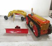 Rare 1950's Marx Windup Tractor With Plow And Earth Grader Nr Mint W/partial Ob